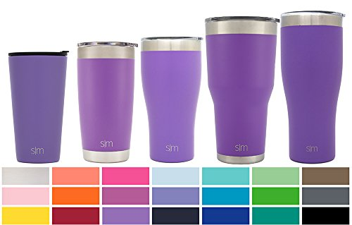 Simple Modern Pint 16oz Tumbler - Vacuum Insulated Stackable Kitchen Glass Internally Threaded Lid - 475 ml Double Wall Purple 18/8 Stainless Steel - Lilac