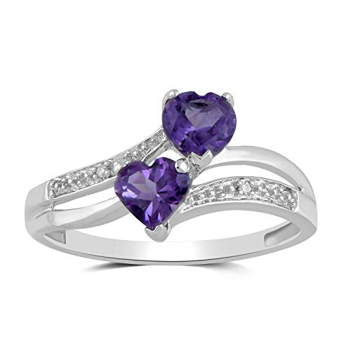 Jewelili 10kt White Gold 5x5mm Heart Amethyst and Round Diamond Accent Double Heart Bypass Ring, Size 7