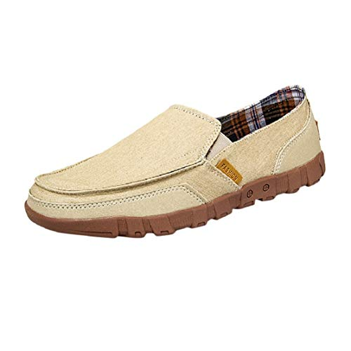Men's Casual Vintage Flat Boat Shoes Cloth Shoes Canvas Slip on Loafers Non Slip Plaid Lining Flat Shoes by Lowprofile Khaki