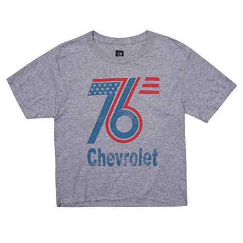 Ladies Chevrolet Crop Top Shirt - Chevrolet Ladies Fashion Clothing - Chevy Corvette and Camero (Heather Grey, Small)