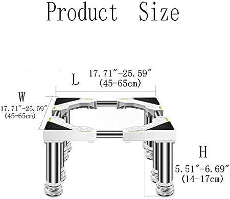 Base de Lavadora con 4/8/12 Pies Acero Inoxidable Soporte para Secadora Refrigerador Largo/Ancho 45-65cm Vinotecas Lavavajillas Soporte Antivibracion Almohadillas Carga 400 kg