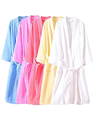 Coolmee Women 100% Cotton Thick Bathrobe Long Sleeve Gown Spa Robes