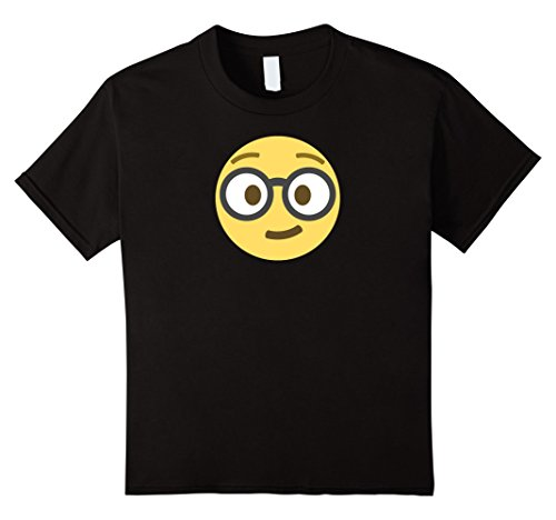 Nerdy Girl Halloween Costume Ideas (Kids Emoji Nerd Shirt Yellow Face Geek Costume Glasses Gift 6 Black)