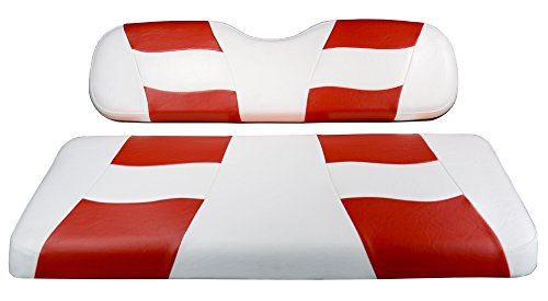 (Madjax Riptide 2001-Up White/Red Two-Tone Front Seat Cover for Club Car DS Golf Carts)