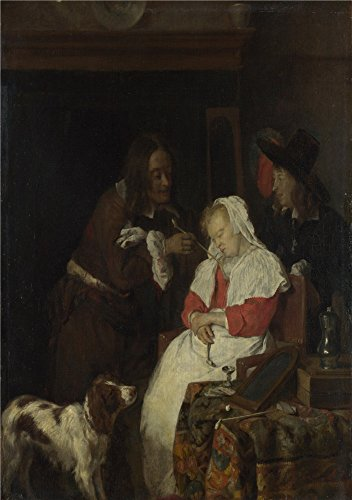'Gabriel Metsu Two Men With A Sleeping Woman ' Oil Painting, 8 X 11 Inch / 20 X 29 Cm ,printed On High Quality Polyster Canvas ,this High Resolution Art Decorative Prints On Canvas Is Perfectly Suitalbe For Gym Artwork And Home Decor And Gifts (Female Mallard Duck Costume)