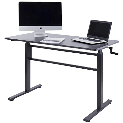 UNICOO - Crank Adjustable Height Standing Desk, Adjustable Sit to Stand up Desk,Home Office Computer Table, Portable Writing Study Table (Black Top/Black Legs)