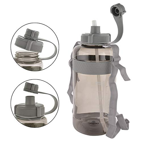 GTI Large Water Bottle, BPA Free Leak Proof Wide Mouth Portable Half Gallon Water Jugs for Gym Hiking Camping, 80 oz Big Drink Water Bottle with Scale Straw Strap - Gray