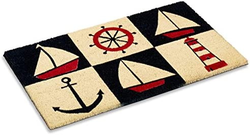 Kempf Printed Coco Coir Doormat Nautical Design