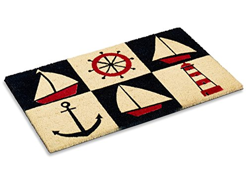 Kempf Nautical Design Rubber Backed Coco Doormat, 18 by 30 by 0.5-Inch