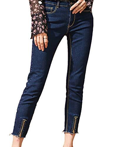 Elf Sack Mujer Pantalones de Mezclilla de los Pantalones Vaqueros Flacos Shaping Slim Trousers Tobillo Longitud Jeans Zipper Decoración Pantalones de Mezclilla Azul Oscuro