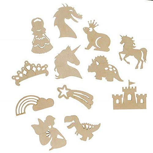 Door Princess Hanger (J&J's ToyScape Unfinished Fairytale Wooden Cutouts (Pack of 12 Styles) Shaped Wood Pieces for Kids DIY Craft Projects, Arts & Crafts, Hanging Ornaments, Door Hanger, Princess Party Decoration)