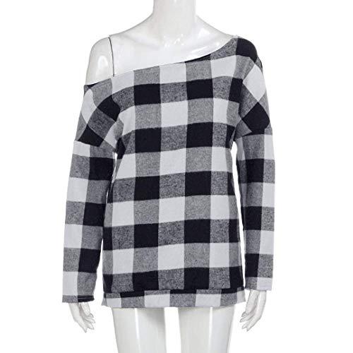 Casual Vintage Costume Classique Shirt Sangle sans Femme Automne Bretelles Fashion Tops Chic Longues Dame Printemps Grau Manches Haut Elgante Carreaux Blouse 5qgSPSxnw
