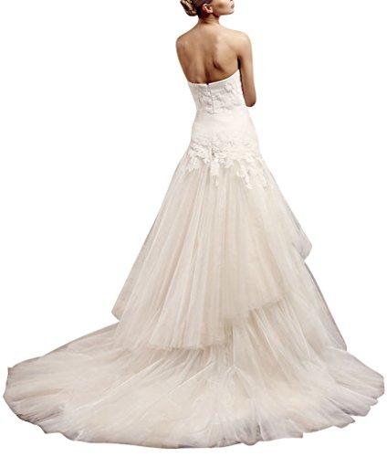 BRIDE Schlepp Deluxe Hochzeitskleid Tuell Weiß GEORGE Doppelmaschen PUdUx