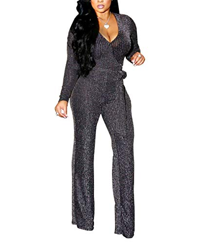 LightlyKiss Women Casual Sexy V Neck Spangly Jumpsuits Long Sleeve Onesie Loose Pants Party Clubwear with Belt Silver (Outfits Party Christmas)