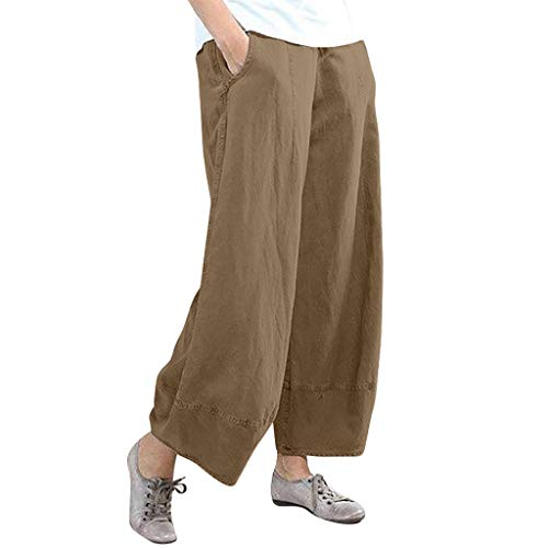 Wide Leg Pants for Women Elastic Solid Cotton Linen Casual Palazzo Trousers Pocket (Khaki, XL)