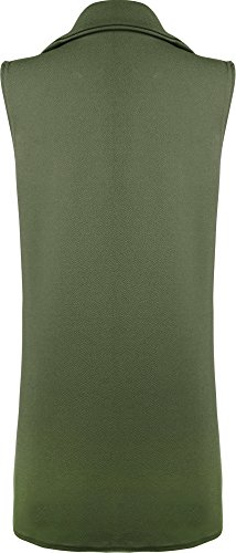 Long Jacket 14 New Pocket Top Ladies 8 Green Waistcoat Womens Crepe Open Sleeveless WearAll ApZaq