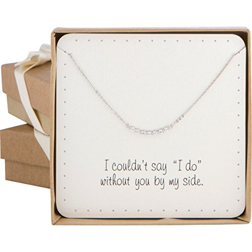 BRIDE DAZZLE Bridesmaid Gift - Super Cute Curved Bar Pave Cubic Zircon Necklace (Silver Color) ()