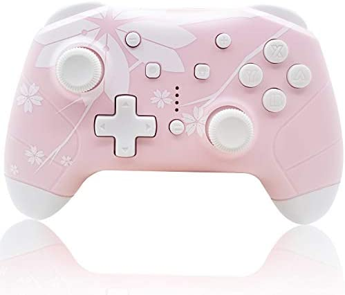 Wireless Controller for Nintendo Switch/Lite, Mytrix Wireless Pro Controllers Gift with Auto-Fire Turbo, Motion Control, Three Levels Adjustable Vibration for Nintendo, Sakura Cherry Blossoms Pink