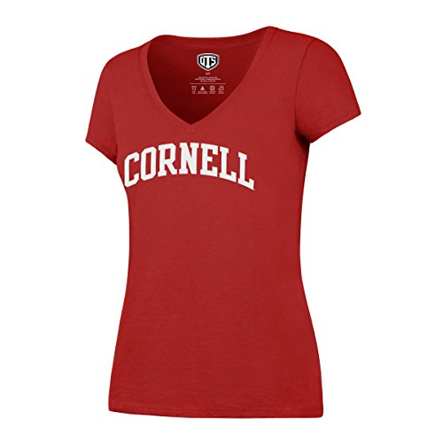OTS NCAA Cornell Big Women's Rival VNeck Tee, Large, Red Cornell Vintage Apparel