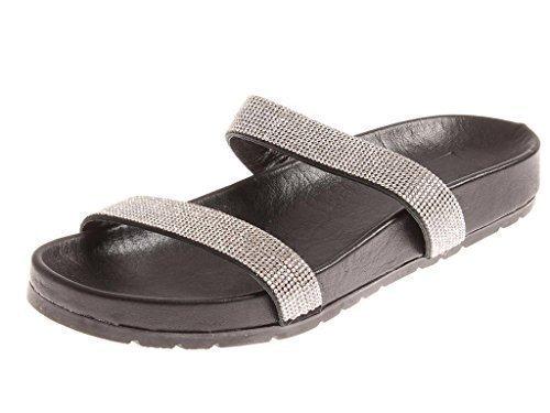 Slippers Black 4516 elegante Leather Summer Mules Glitter Mules KimKay Leather 1txzwwvqF