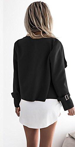 Coat Oficina Chaquetas Moderno New Solapa Sólido Mujer Cortas De Casual Negro Abrigos Pelo De Cárdigans Look Chaqueta Color Manga Moda Otoño Elegantes Outcoat Largos PT4qdvTwx