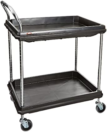 Metro Deep Ledge Series Polymer Utility Cart With 4 Swivel Casters, 2  Shelves, 400
