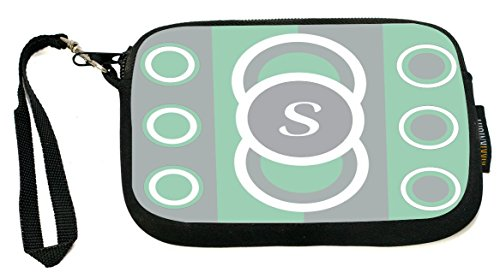 Mint Coin Designs - Rikki Knight Letter S Mint Green Circle Designs - Neoprene Clutch Wristlet Coin Purse with Safety Closure - Ideal case for Cosmetics Case, Camera Case, Cell Phones, Passport, etc..