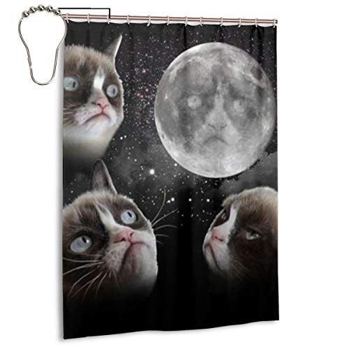 Tard The Grumpy Cat Halloween (BJjiayu Fashion Bathroom Decoration Shower Curtains,Fashion The Unhappy Cat Tard The Grumpy Cat Polyester Fabric Bath Accessories with Hooks 55x72)