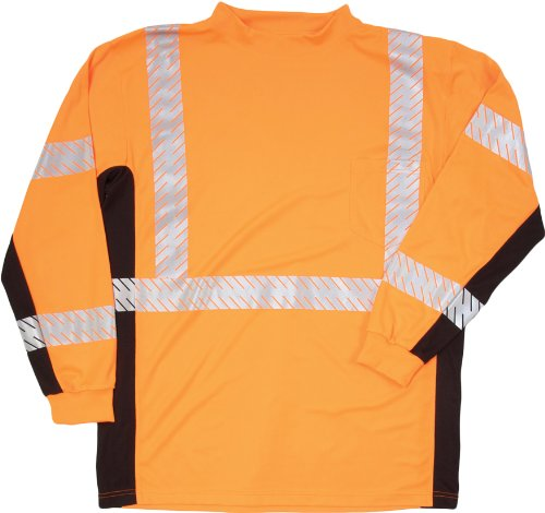 ML Kishigo 9135 Polyester Black Series Class 3 Long Sleeve T-Shirt, 3X-Large, Orange