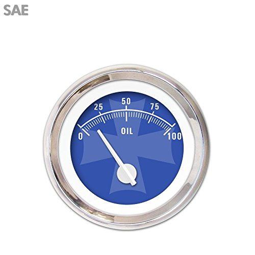 White Modern Needles, Chrome Trim Rings, Style Kit DIY Install Aurora Instruments 3478 Iron Cross Blue SAE Oil Pressure Gauge