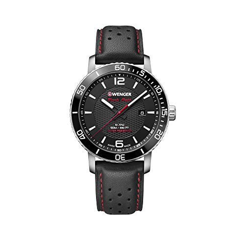 Wenger Men's Roadster Black Night - Swiss Made Analogue Quartz Stainless Steel Black Leather Strap Watch 01.1841.101