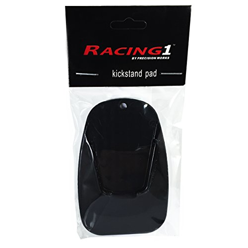 Racing 1 Motorcycle Kickstand Pad - Provides Support for Soft Ground Outdoor Parking - Black - Kickstand Pad