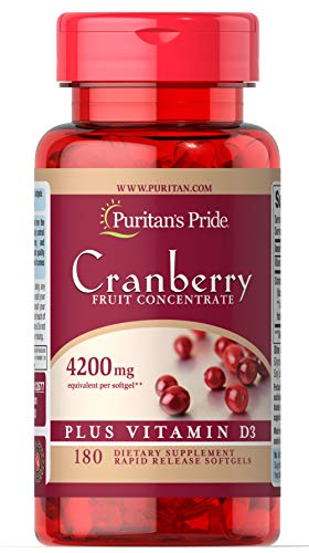 Puritan's Pride Cranberry Fruit Concentrate Plus Vitamin D3-180 Softgels