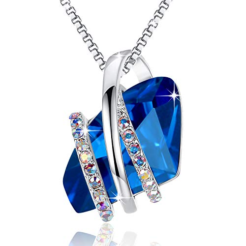 Leafael Wish Stone Pendant Necklace Made Swarovski Crystals (Sapphire Blue Silver Tone) Gifts Women Mother Daughter September Birthstone Jewelry