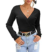 KILIG Women's Wrap V Neck Cropped Cardigan Sweater Tie Knot Belted Waist Knitted Tops