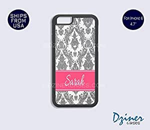 Monogram iPhone 6 Plus Case - Grey Damask Pink Stripe iPhone Cover