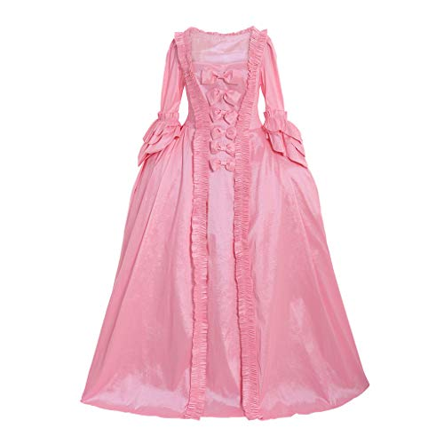 CosplayDiy Women's Rococo Ball Gown Gothic Victorian Dress Costume (M, Pink Dress)