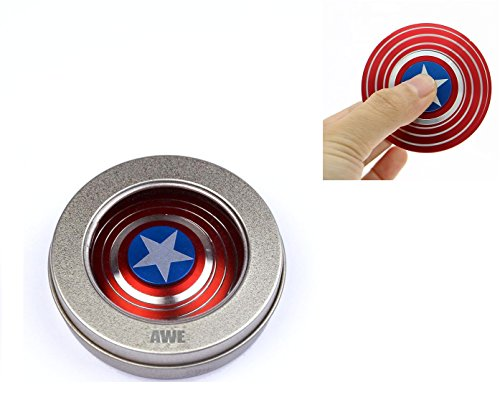 Premium Anti-Anxiety 360 Spinner Fidget Toy Captain America's Shield Design Helps Focusing Best Quality EDC for Kids & Adults Stress Reducer Relieves ADHD Anxiety Boredom Ceramic Cube Bearing