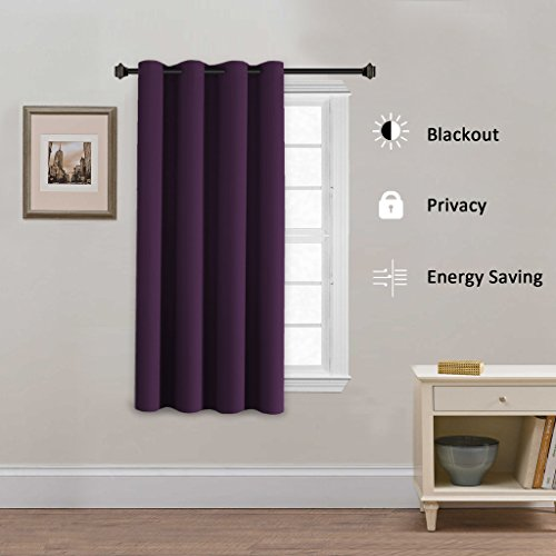 H.Versailtex Blackout Curtains & Drapes(Thermal Insulated Small Curtain for Bedroom)-52 inch Wide by 63 inch Long-Grommet Top-Solid in Plum Purple(Set of 1)