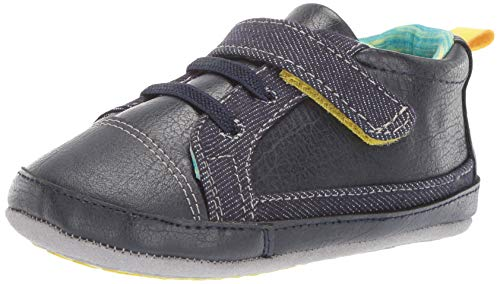 Crib Shoes Sneakers - Ro + Me by Robeez Boys' Parker Sneaker Crib Shoe, Blue, 6-12 Months