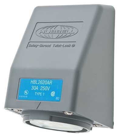 30r Locking Flush Receptacle - 30A Angle Locking Receptacle 2P 3W 250VAC L6-30R GY