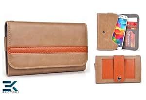 [BROWN & ORANGE] HTC Desire X Case. Unisex Men's or Women's Wallet with Pouch Pouch