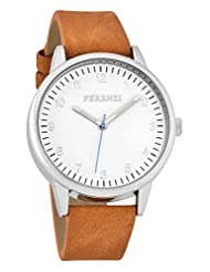Ferenzi Men's | Classic Silver Watch with Black Suede Band and Blue Hand | FZ16701