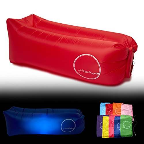 PERCH Brand Inflatable Lounger with LED Light (Red) (Inflatable Furniture For Sex)