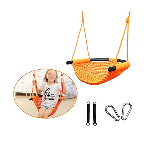 Blingbox-store Children's Toy Rope Net Indoor and Outdoor Family Hanging Chair Swing Infant Outdoor Hanging Chair Child Toy Swing,Orange
