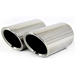 Dsycar Stainless Steel Car Exhaust Muffler Tip Pipes Covers for VW Volkswagen JETTA 2009-2018 / SAGITAR 2011-2015 / POLO 2012-2014 / GOLF 7 2013-2015 (Silver)
