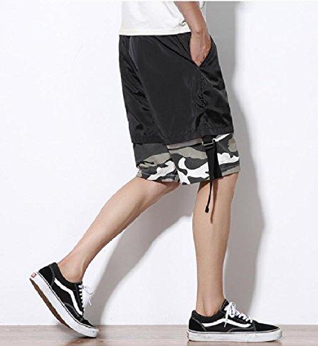 SportsX Mens Multicam Straight-Fit Plus Size Stitch Mid Length Short Grey M by SportsX (Image #3)