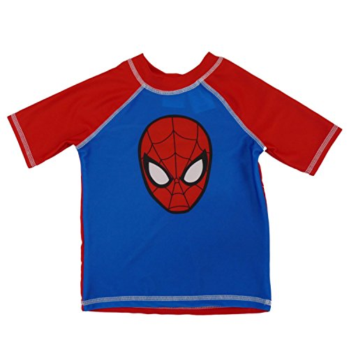 Marvel Toddler Boys Blue & Red Ultimate Spider-Man Rash Guard Swim Shirt 3T