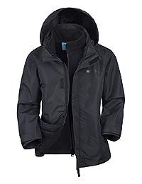 Mountain Warehouse Fell Kids 3 in 1 Winter Rain Jacket - Boys & Girls Black 9-10 years