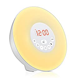 Uoune Wake Up Light,Sunrise Alarm Clock,Touch Digital Smart Clock,with FM Radio and 6 Natural Sounds,LED Color Changing Night Light For Kids Adults Bedroom Bedside